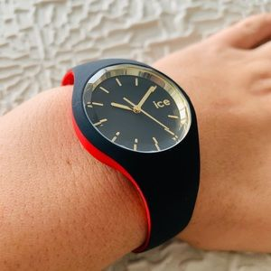 Accessories - NWT Ice Watch Black/Red/Gold silicone strap